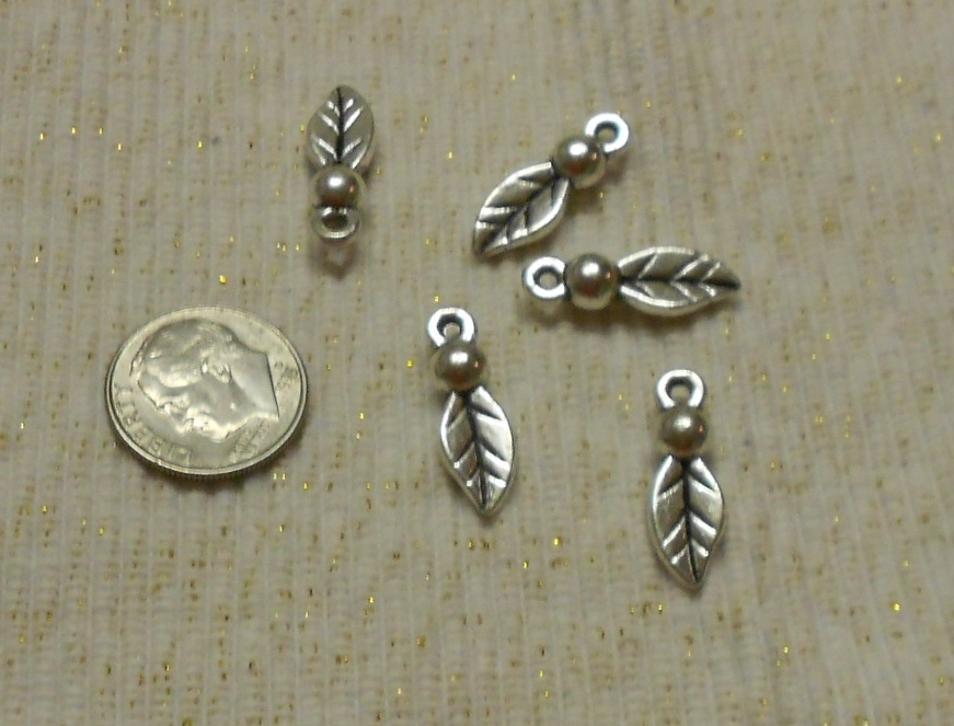 Silver Leaf Drop Charms
