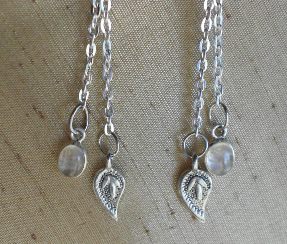 Paisley Rainbow Moonstone Earrings Handmade