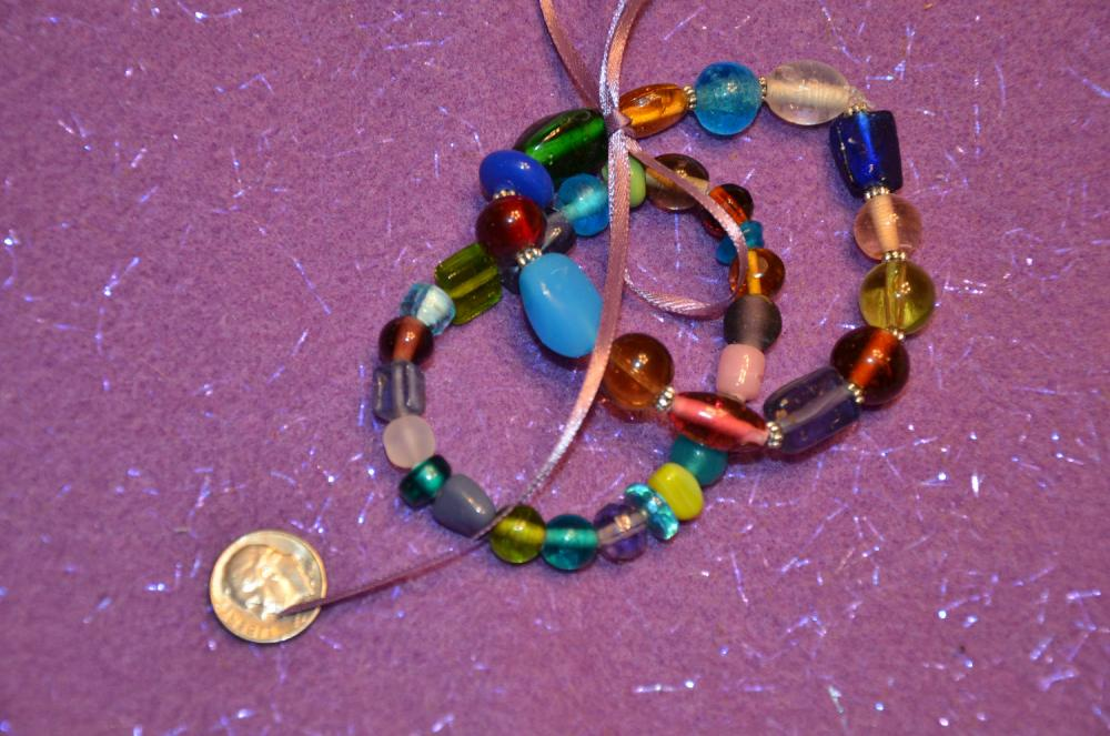 Two Colored Glass Bead Stretch Bracelets