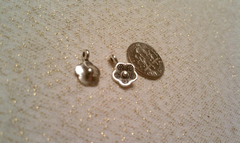 Silver Posy Flower Charms Lot of Five Set 2