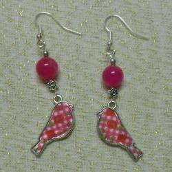 Floral Bird and Pink Jade Earrings